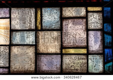 Old Bright And Colourful Stained Glass Window.