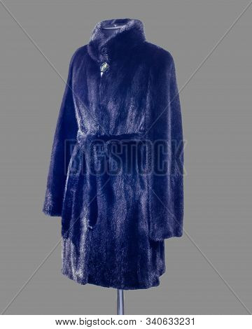 Shortened Mink Coat With Belt And Stand-up Collar, For The Catalog