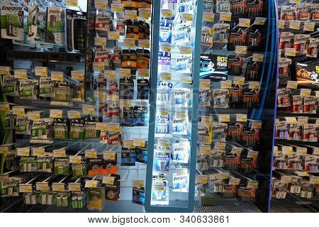 Energizer, Duracell, Eveready Aaa, Aa Batteries Displayed For Sale. Batteries Of Different Sizes In