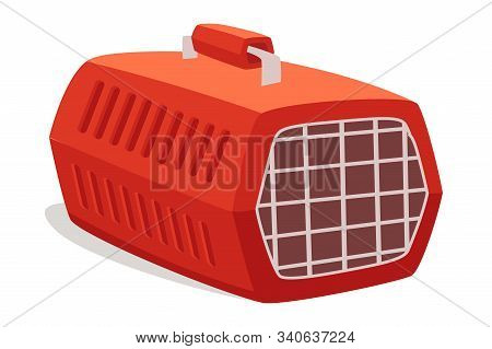 Empty Cage, Pet Carrier Flat Vector Illustration. Portable Container With Handle For Domestic Animal