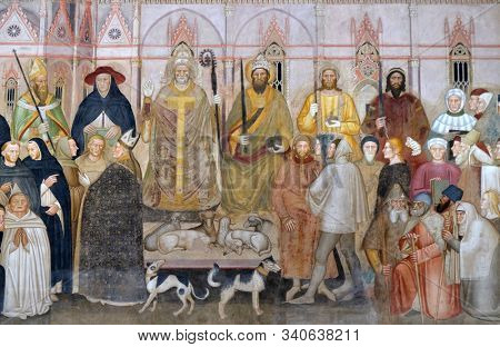 FLORENCE, ITALY - JANUARY 10, 2019: The Active and Triumphant Church detail, fresco by Andrea Di Bonaiuto, Spanish Chapel in Santa Maria Novella Principal Dominican church in Florence, Italy