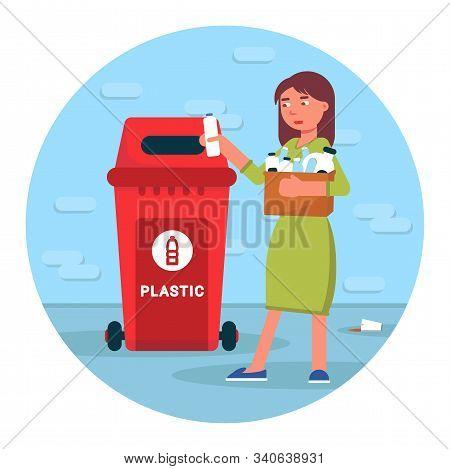 Plastic Garbage Recycling Flat Illustration. Woman Throwing Bottles In Urban Trash Bin Character. Wa