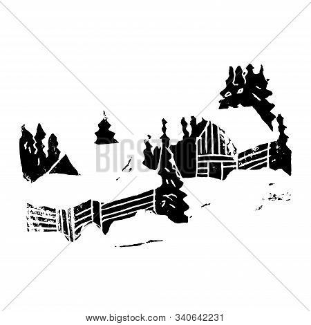 Two Snow Houses In The Winter Forest. Hand Made Linocut. Black Composition On White Background. Vect
