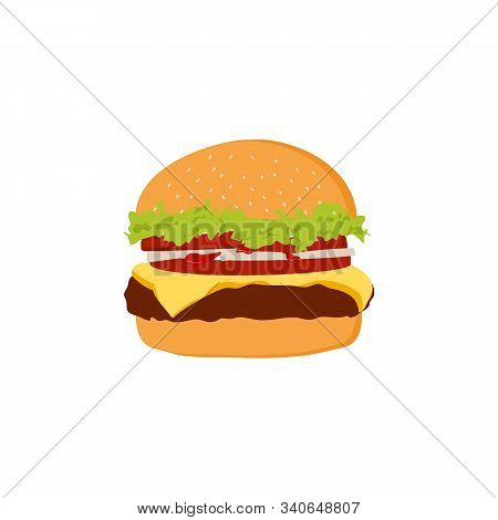 Burger Icon. Cheese Burger Logo. Isolated Vector Burger Icon With White Background. Trendy Burger Ic