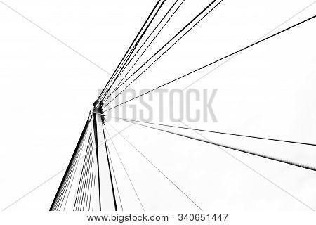 Minimal Detail Of Modern Steel Suspension Bridge