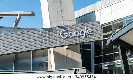 Mountain View, California, Usa - August 2019: Google Sign On One Of The Google Buildings. Google Is