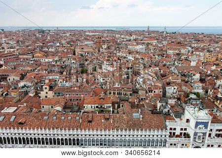 Aerial View Of The Procuratie Vecchie In St. Marks Square In Venice