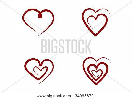 Set Of Outline Hand Drawn Heart Icon. Hand Drawn Doodle Grunge Heart Vector Set. Hearts Isolated On