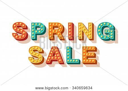 Spring Sale Vector Typography. Seasonal Shopping Event Advertisement, Wholesale Banner Design Elemen