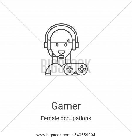 gamer icon isolated on white background from female occupations collection. gamer icon trendy and mo