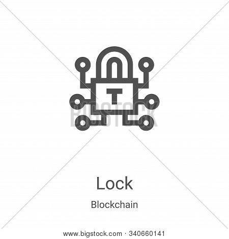 lock icon isolated on white background from blockchain collection. lock icon trendy and modern lock