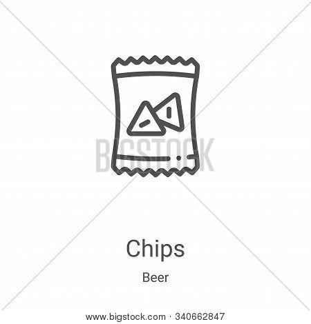 chips icon isolated on white background from beer collection. chips icon trendy and modern chips sym