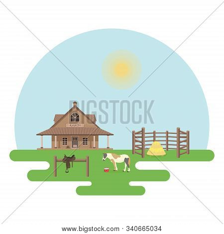The Country House, The Pinto Horse And The Hitching Post With The Cowboy Saddle Are In The Daytime.