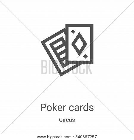 poker cards icon isolated on white background from circus collection. poker cards icon trendy and mo