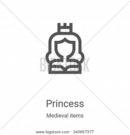 princess icon isolated on white background from medieval items collection. princess icon trendy and