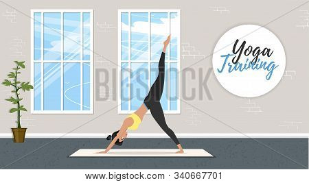 Yoga Training Banner In Flat Style. Young Attractive Girl In Sportswear Practicing Yoga Indoor. Heal