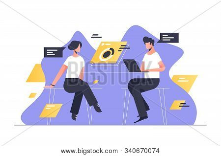 Business Man And Woman Meeting Vector Illustration. Male Using Laptop Flat Style Design. Businesspeo