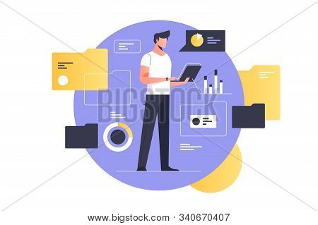 Electronic Document Management Vector Illustration. Man With Laptop Flat Style Design. Documents Flo