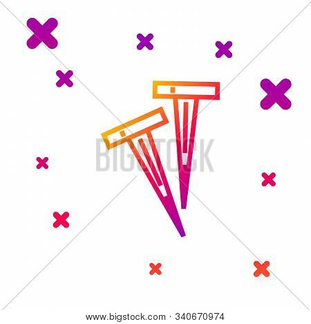 Color Line Pegs For Tents Icon Isolated On White Background. Extreme Sport. Sport Equipment. Gradien