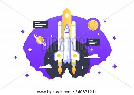 Space Shuttle Takes Off Vector Illustration. Rocket Flying In Clouds And Planets Flat Style Design.