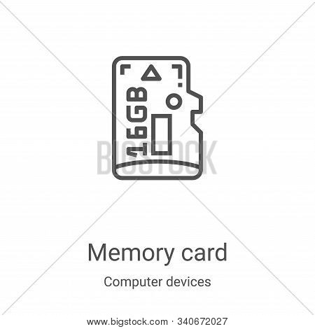 memory card icon isolated on white background from computer devices collection. memory card icon tre