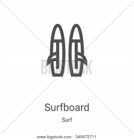 Surfboard icon isolated on white background from surf collection. Surfboard icon trendy and modern S