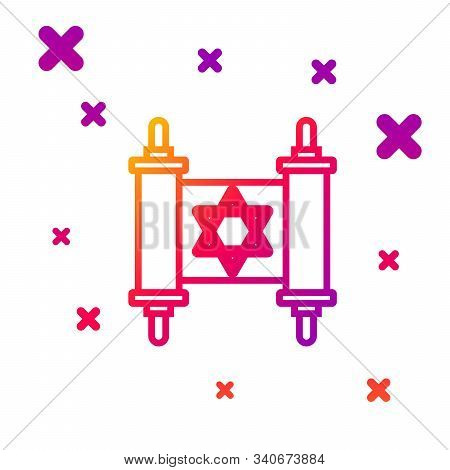 Color Line Torah Scroll Icon Isolated On White Background. Jewish Torah In Expanded Form. Star Of Da