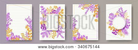 Tropical Herb Twigs, Tree Branches, Flowers Floral Invitation Cards Set. Bouquet Wreath Creative Inv