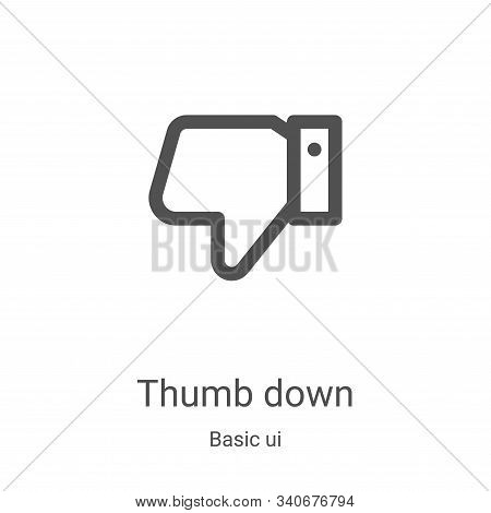 thumb down icon isolated on white background from basic ui collection. thumb down icon trendy and mo
