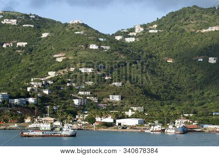 The View Of The Port And Scattered Road Town Residential Houses On A Mountainous Landscape On Tortol
