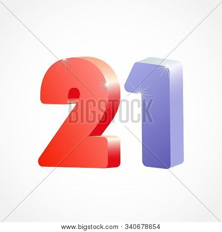 21 St Anniversary Numbers. 21 Years Old Coloured Logotype. Age Congrats, Congratulation Idea. Isolat