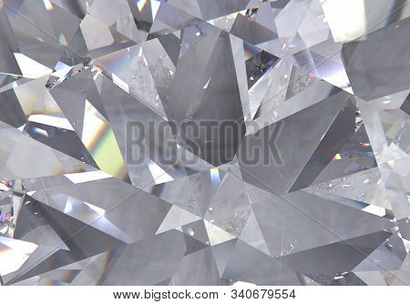 Diamond Structure Extreme Closeup And Kaleidoscope. Top View Of Round Gemstone 3d Render, 3d Illustr