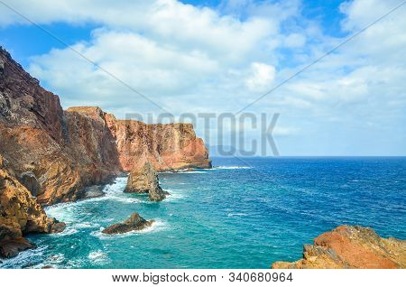 Amazing Volcanic Rocks In Ponta De Sao Lourenco, Madeira Island, Portugal. Cliffs By The Atlantic Oc