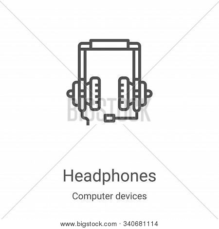 headphones icon isolated on white background from computer devices collection. headphones icon trend