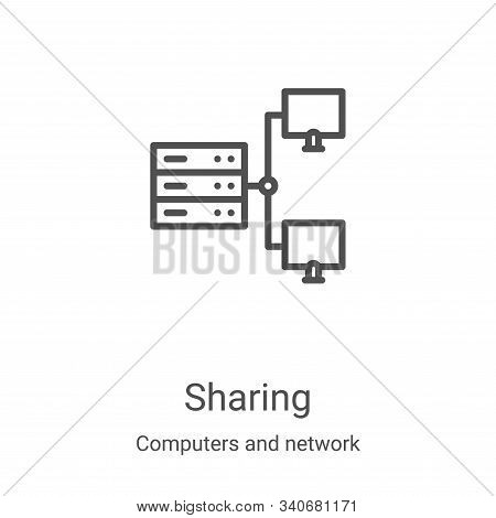 sharing icon isolated on white background from computers and network collection. sharing icon trendy