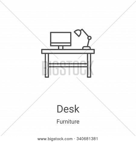 desk icon isolated on white background from furniture collection. desk icon trendy and modern desk s