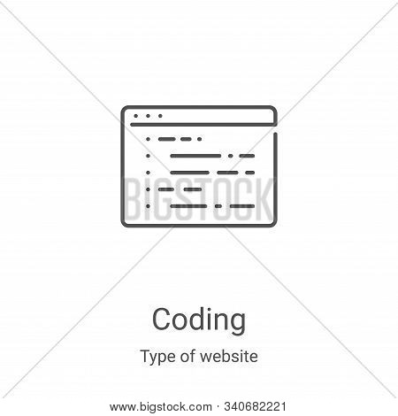 coding icon isolated on white background from type of website collection. coding icon trendy and mod