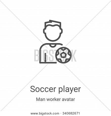 soccer player icon isolated on white background from man worker avatar collection. soccer player ico