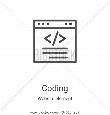 coding icon isolated on white background from website element collection. coding icon trendy and mod