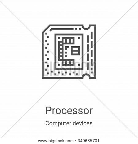 processor icon isolated on white background from computer devices collection. processor icon trendy
