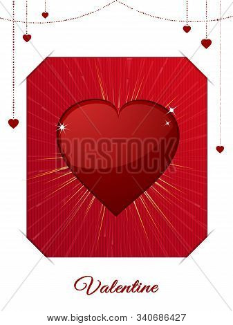 White And Red Valentine Card With Copy Space Decorative Text Small Hearts On Chains And Big Red Hear