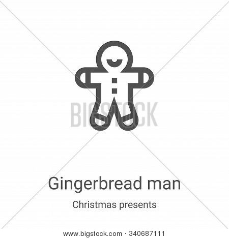 gingerbread man icon isolated on white background from christmas presents collection. gingerbread ma