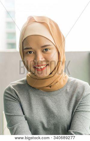 Portraiture Of Cute Malay Muslim Wearing Hijab