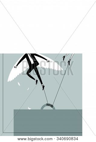Chained Office Workers Desperately Trying Escape And Take Off Poster