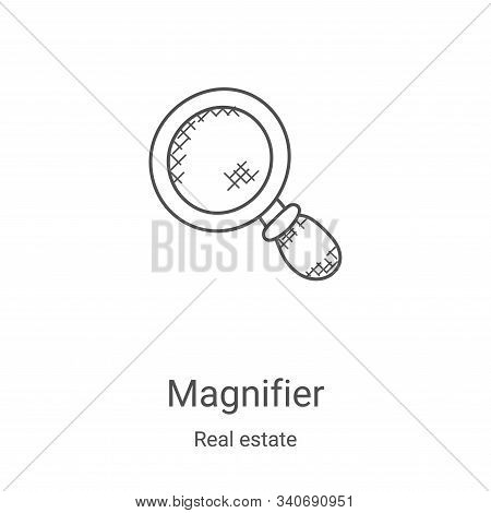 magnifier icon isolated on white background from real estate collection. magnifier icon trendy and m