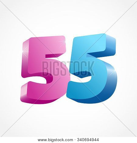 55 Th Anniversary Numbers. 55 Years Old Coloured Logotype. Age Congrats, Congratulation Idea. Isolat