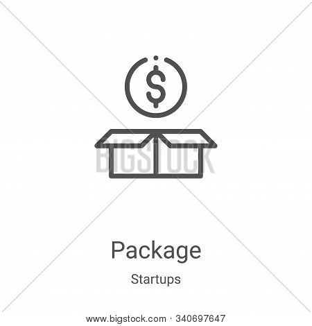 package icon isolated on white background from startups collection. package icon trendy and modern p