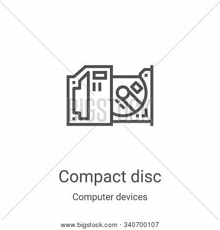 compact disc icon isolated on white background from computer devices collection. compact disc icon t