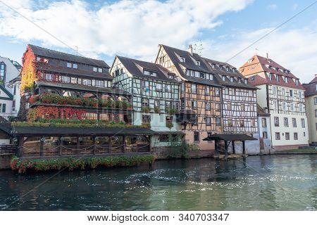 Strasbourg, Alsace / France - November 9, 2018: Traditional Alsatian Buildings Facade, In Le Petite