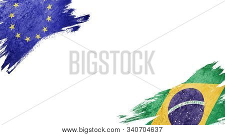Flags Of Europe Union And brasil On White Background